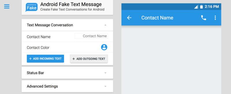 Android Fake text generator screenshot