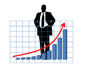 image businessman silhouette behind graph