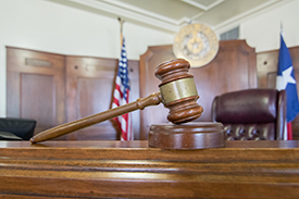 Gavel in Texas Courtroom