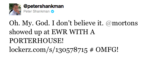 Peter Shankman's Mortons Tweet #2